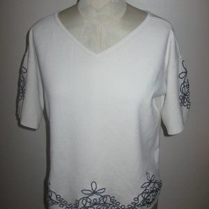 Ann Taylor V-Neck Ivory with  Black Embroidery Top